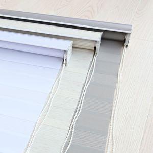 Image 5 - Zebra jaluzi yatay pencere gölgeliği çift katmanlı stor perde pencere özel kesim boyutu haki perdeleri oturma odası için