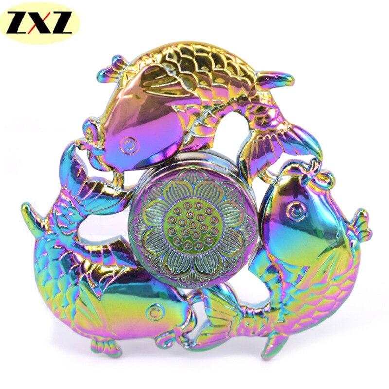 New 5 styles good luck fish edc tri spinner fidget zinc for Fish fidget spinner