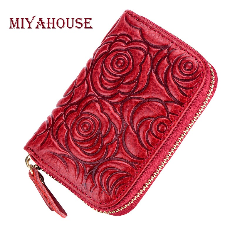 Hot Sale Oil Leather Women Rose Card Holder Wallets High Quality Female Credit Card Holders RFID Wallet Lady Floral Cards Purse hot sale 2015 harrms famous brand men s leather wallet with credit card holder in dollar price and free shipping