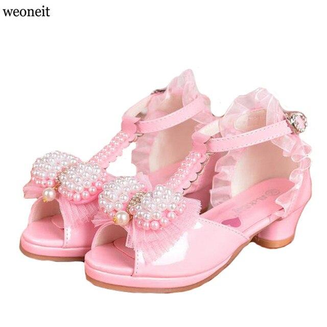 Weoneit Summer 2019 Children Princess Sandals Kids Girls Wedding Shoes High Heels  Dress Shoes Party Shoes c5fb7a1a31c6