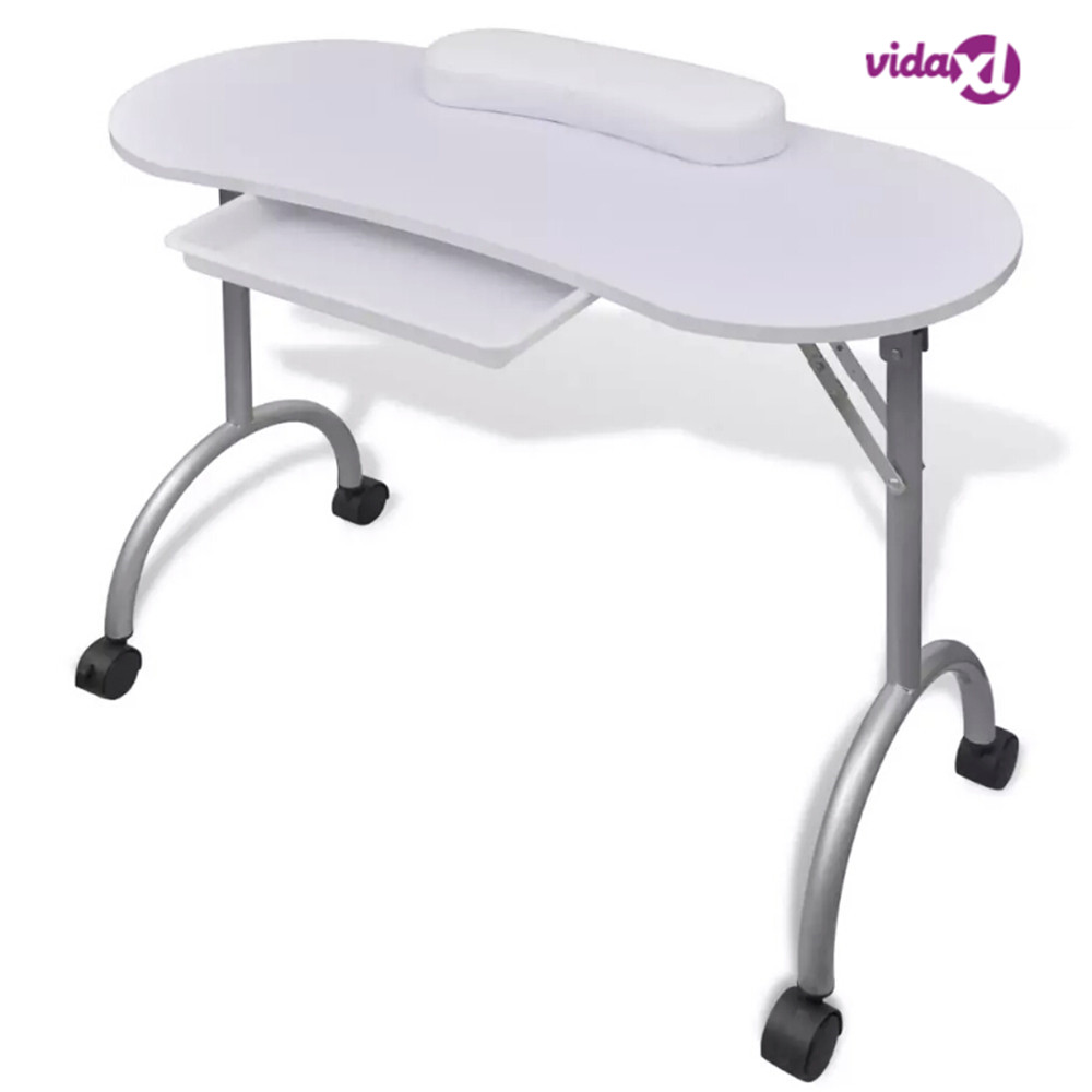 Vidaxl Foldable Manicure Table With A Thick Wrist Pillow 4 Lockable Wheels Nail Tables Professional Commercial Furniture|Personal Care Appliance Parts| |  - title=