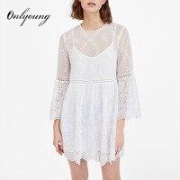 Onlyoung 2018 Summer White Lace Dress Long Sleeve 2 Piece Set Women Sexy Mini Embroidery Dress Short Tunic Beach Dress