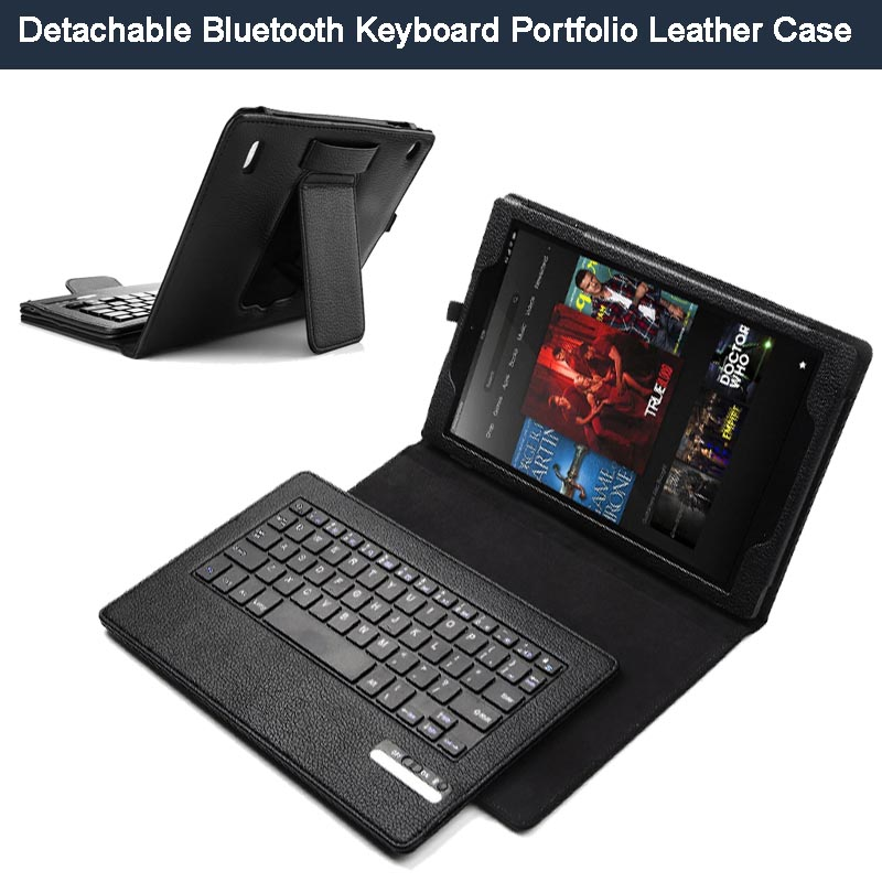Magnetically Removable Wireless Bluetooth Keyboard kickstand Folio PU Leather Case Smart Cover for Amazon Fire 7 2015 Tablet