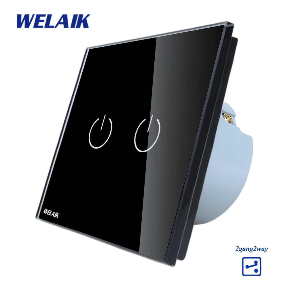 WELAIK Crystal Glass Panel Switch black Wall Switch EU Touch Switch Screen Wall Light Switch 2gang2way AC110~250V A1922B smart home eu touch switch wireless remote control wall touch switch 3 gang 1 way white crystal glass panel waterproof power