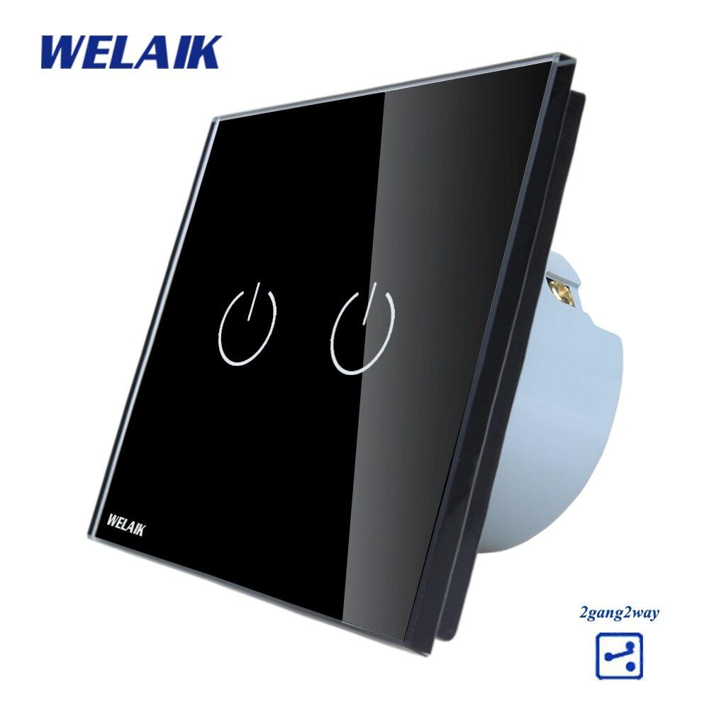 WELAIK Kristallglas-verkleidung Schalter Wandschalter EU Touch Schalter Bildschirm Wand Lichtschalter 2gang2way AC110 ~ 250 V A1922B