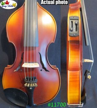 Solid wood Baroque style brown color 5strings electric violin 4/4 +Acoustic violin #11700 electric violin full size 4 4 electric violin fiddle solid wood