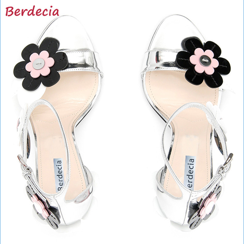 Spring Autumn Sunflower Woman Sandals Fashion Thin High Heels Shoes Woman Party Wedding Zapatos Mujer Ankle Strap Tenis Feminino