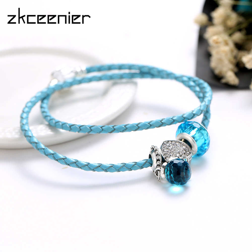 b9d9cf3ed580 ZKCEENIER Romantic Blue Water Drop Leather Bracelets Fit Diy Snake Chain Pandora  Charm Bracelets Bangles for Women