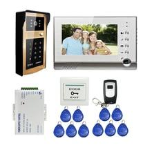 ENVÍO LIBRE 7 pulgadas Grabar Video Teléfono de La Puerta Sistema de Intercomunicación Monitor de metal Al Aire Libre RFID Teclado de Contraseña Timbre Cámara + 8G SD