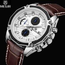 MEGIR Fashion Leather Sports Кварцевые часы для мужчин Военный хронограф милитари Наручные часы Мужчины Многофункциональная армия Стильный 2015