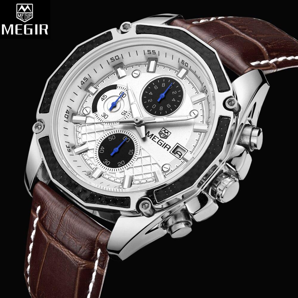 Mode Style MEGIR Montres Hommes Top Marque De Luxe En Cuir Montre À Quartz Hommes Chronographe Lumineux Sport Montre-Bracelet reloj hombre