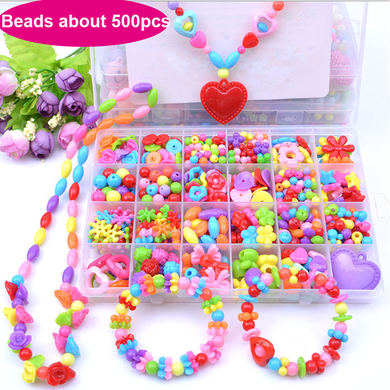 Kid Beads Kit Set Findings For Jewelry Making Girl Toy Mix Color Acrylic Beads Toy With Box For Children DIY Bracelet Neckless