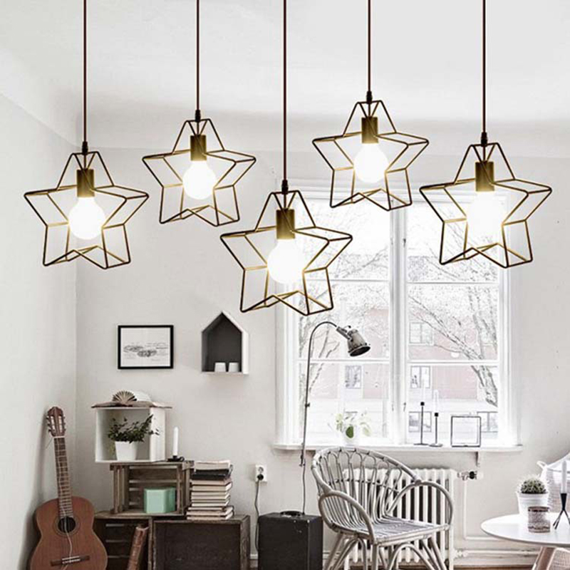 SinFull Minimalist Star Mini birdCage Pendant Lights Vintage Rustic Geometric iron Lamp Living Room black/white lighting