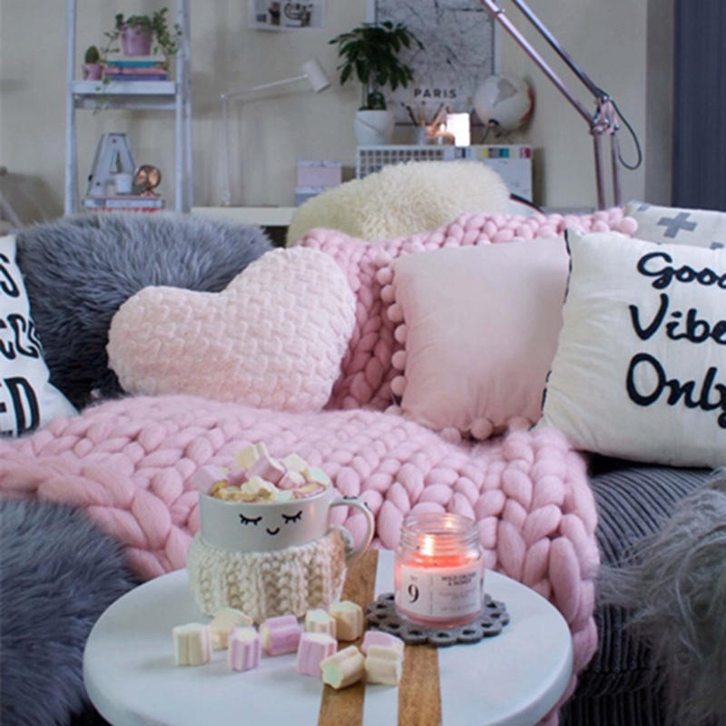 Soft Thick Line Giant Yarn Knitted Blanket Handmade Weaving Photography Props Crochet Blankets Home Decor Sofa Blanket