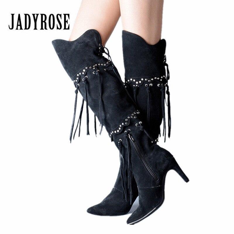Jady Rose noir daim femmes cuissardes bottes Rivets clouté glands femme sur le genou bottes Sexy talon haut longues Botas Mujer