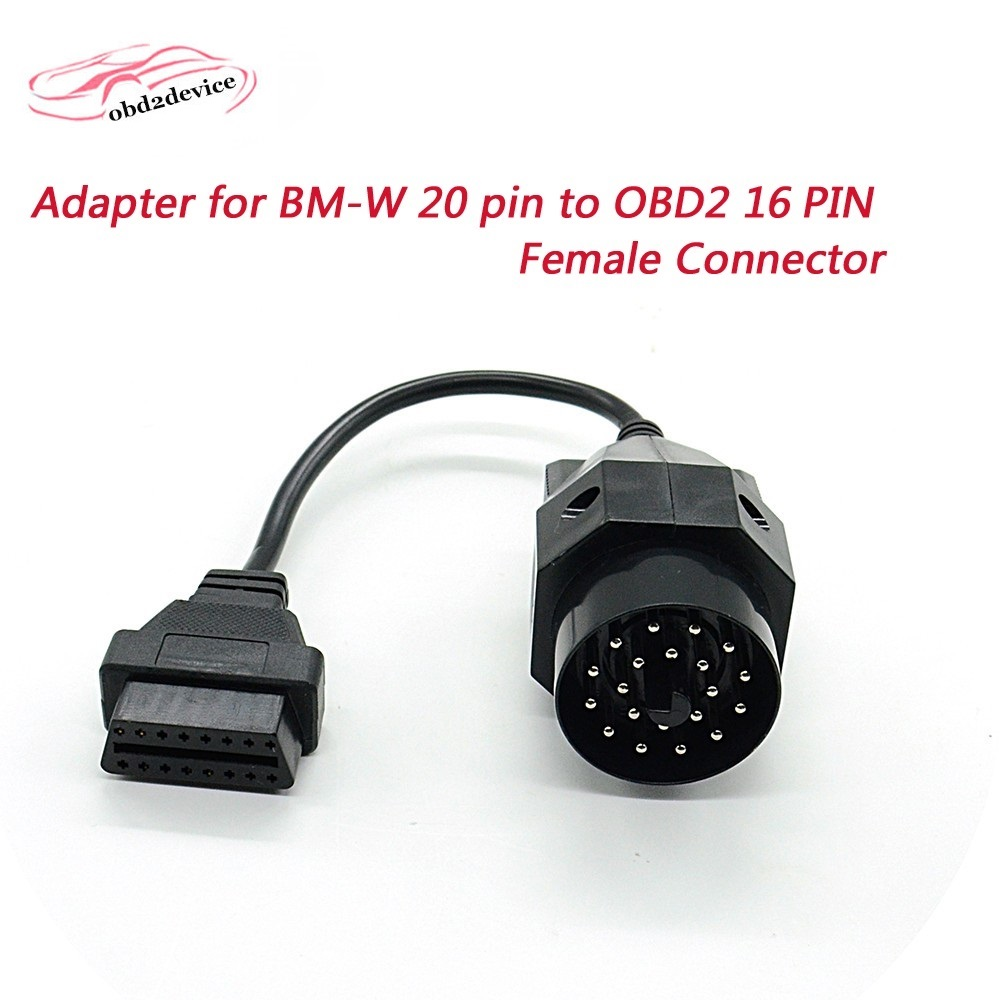 Top quality obd2 cable for BMW 20 pin Adapter for BMW 20 pin to 16 PIN Female Connector obd cable e36 e39 X5 Z3 good quality 14 pin to 16 pin obd2 cable connector obd2 conversion plug for benz sprinter etc car