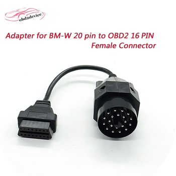 for BMW 20pin OBD II Adapter for BMW 20 pin to OBD2 extend 16 PIN Female Connector for e36 e39 X5 car obd2 cables factory outlet image