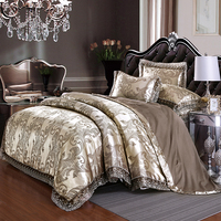 Luxury European Style Jacquard Silk Silvery Green Blue Bedding Set Lace Duvet Cover Bed sheet/Linen Bed Skirt Pillowcases 3/4pcs