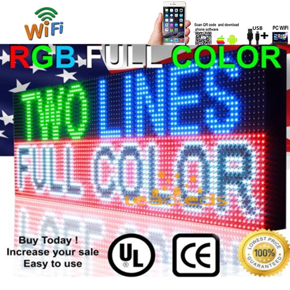 41x16inch Full Color RGB Outdoor Waterproof 10MM HD Wifi+U disk Programmable Scrolling Message Street Multi line Led Sign board