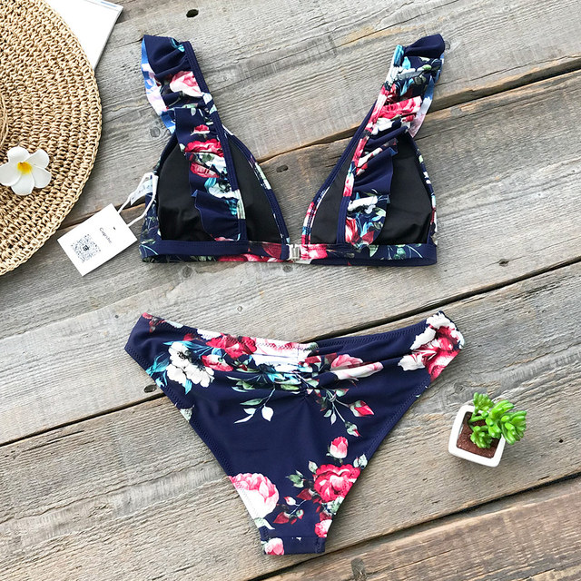 Bikini floral top volantes 3