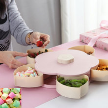 Petal-Shape Rotating Snack Case Plate Box Candy Holder Tray Rotatable Food Container Storage Fruit Organizer