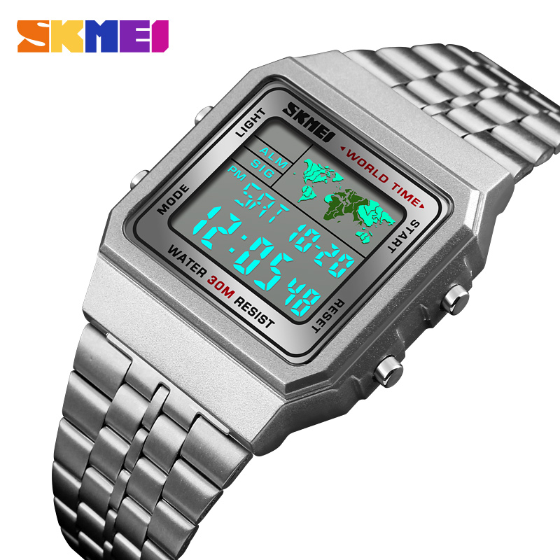 SKMEI Men Sports Watches Count Down Waterproof Watch Stainless Steel Fashion Digital Wristwatches Male Clock Relogio Masculino skmei men sports waterproof watch stainless steel fashion digital wristwatches