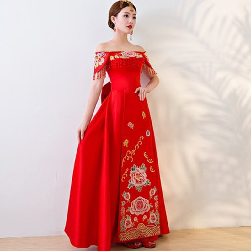 Red Embroidery Long Cheongsam Dress One Shoulder Wedding Qipao Chinese Traditional Oriental Style Dresses Woman Vestido Qi Pao