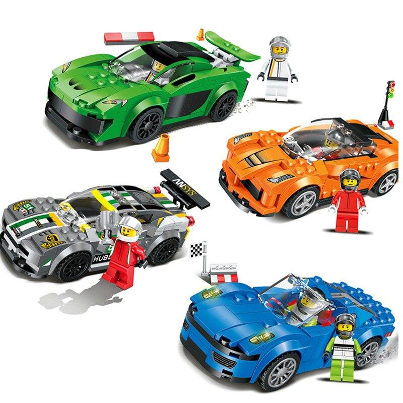 Qunlong 4 pièces/ensemble Sport voiture de course Modèle Super Coureurs Vitesse Champions compatible avec Legoings Minecrafted figurines d'action