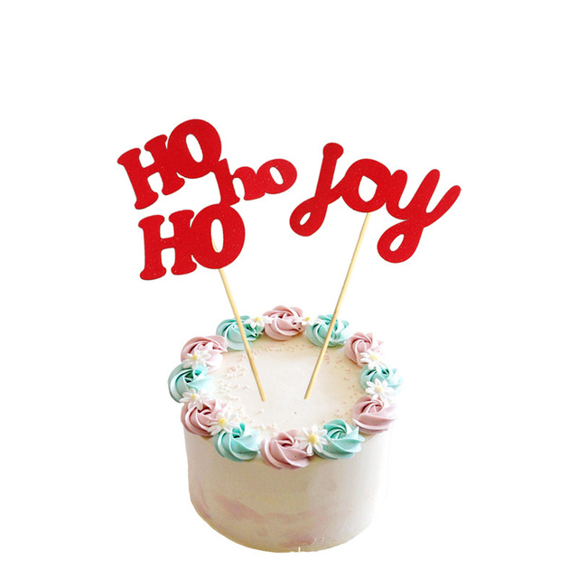 hohoho joy cake topper cupcakes flag bridal shower supplies red paper bachelorette hawaiian wedding birthday party