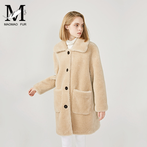 Image 4 - MAOMAOFUR 100% Real Sheep Fur Coat Women New Fashion Warm Thick Long Style Fur Outerwear Ladies Real Wool Coat