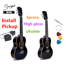 Ukulele 24 26 Inches Spruce Mini Electri Concert Tenor Acoustic Guitars 4 Strings Ukelele Music Install Pickup Travel Guitar цена 2017