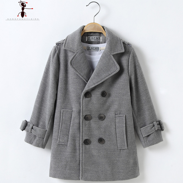 Double Breasted Solid Turn-down Collar Full Sleeve Worsted Woolen Boys Black Brown Gray Cool Long Coat for Winter  2524