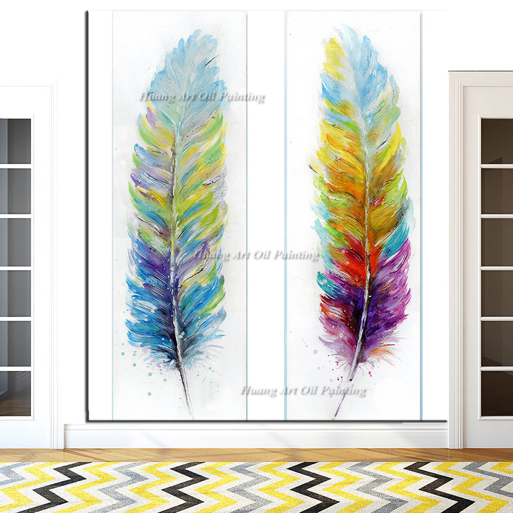 Wholesale New Handmade Modern Abstract Rainbow Color Feather Oil Painting on Canvas Artwork Paintings For Room Decor