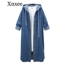Xnxee Women Long Hooded Trench Plus Size 2019 New Spring and Autumn Long-sleeve