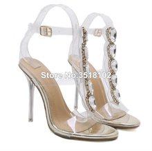 198beb9211b Verão Novas Mulheres Da Moda de Luxo Jóia de Cristal PVC Salto Fino  Sandálias de Cristal Transparente Sapatos de Salto Alto Sapa.