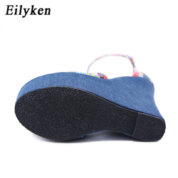 Eilyken 2019 New Designer Print Denim Sandals Roman Sandals High Quality Wedges High Heels Peep-Toe Platform Shoes Woman 5