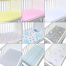 High Quality 100% Cotton Crib Fitted Sheet Soft Breathable Baby Bed Mattress Cover Potector Cartoon Newborn Bedding For Cot