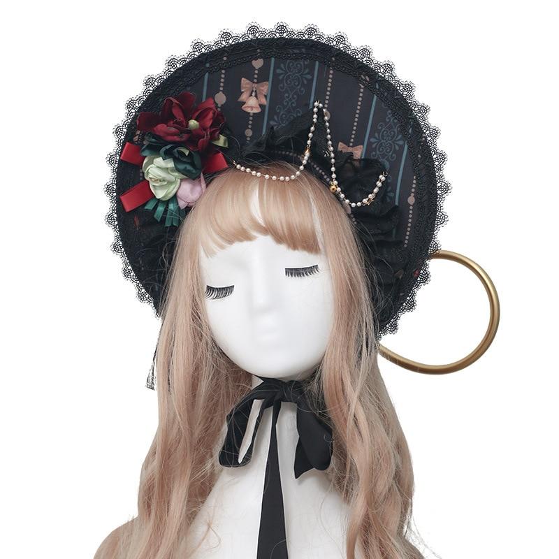Sweet Lolita Bonnet With Chain Printed Women's Sun Hat