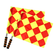 1 Pair Soccer Referee Flags Football Linesman Flags Red Yellow Checkered Offside Hand Flags Soccor Sports Game Referee Equipment box for football match referee red and yellow cards