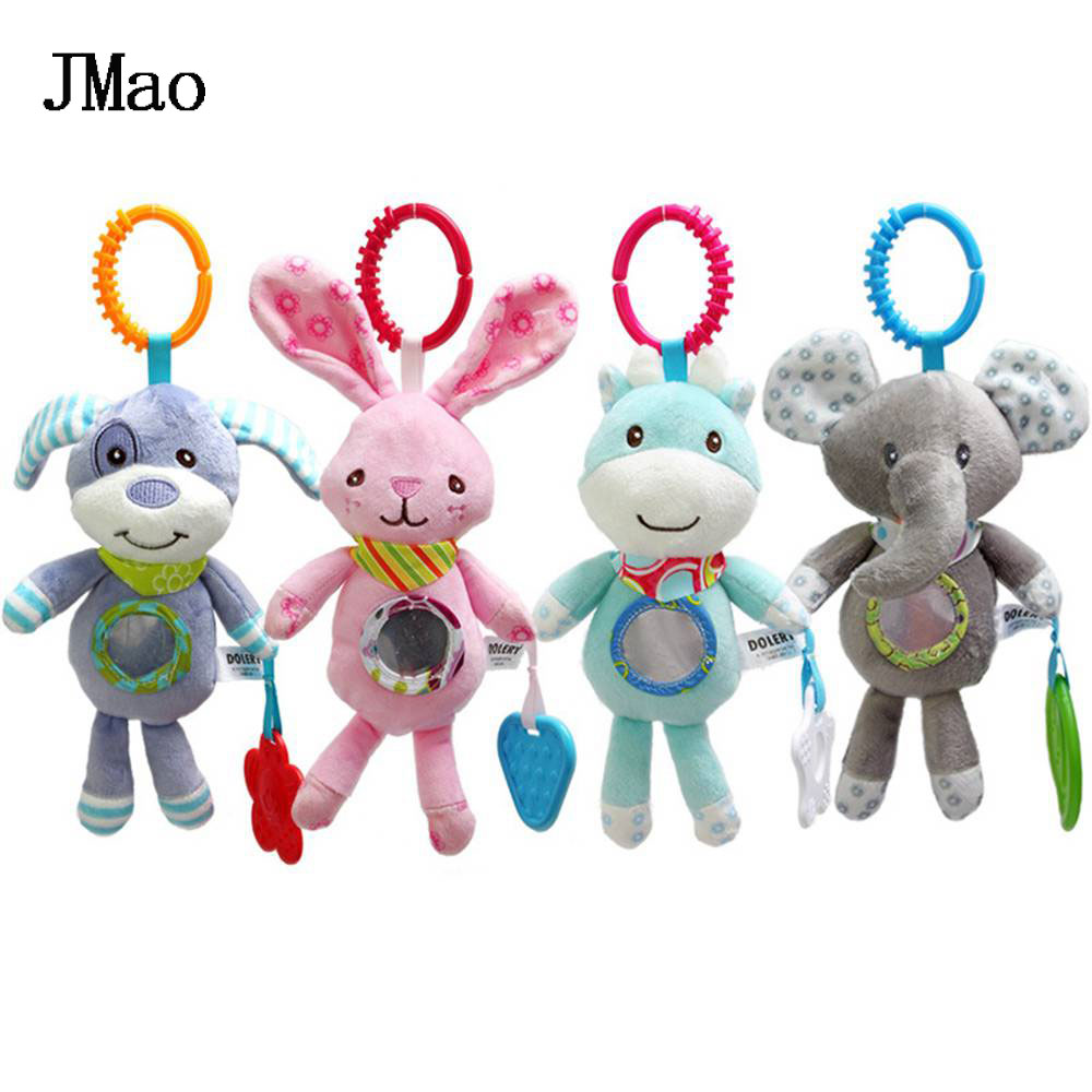 JMao Baby Toys Funny Rattles Animal Stroller Toy Soft Teether Crib Mobile Wind Chimes Plush Toys For 0-12 Months Newborns