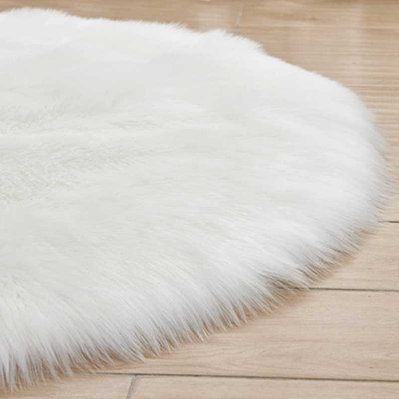 Awesome Artificial Wool Hairy Rug White Round Fur Carpets For Bedroom Kids Room Floor Mat Office Chair Tapete Long Fluffy Faux Fur Rugs Download Free Architecture Designs Scobabritishbridgeorg