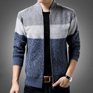 Image 3 - Liseaven 男性カーディガンセーターカジュアルスタイルスタンド襟暖かい Sweatercoat 男性のジャケットコート秋冬カーディガン