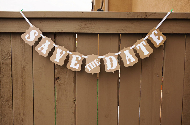 Save The Date Vintage Wedding Photo Booth Props Banner Enfeites De Casamento Garland