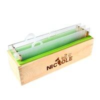 나무 상자와 투명 한 수직 아크릴 물 막이 판 사각형 수 제 로프 비누 금형으로 실리콘 렌더링 비누 금형
