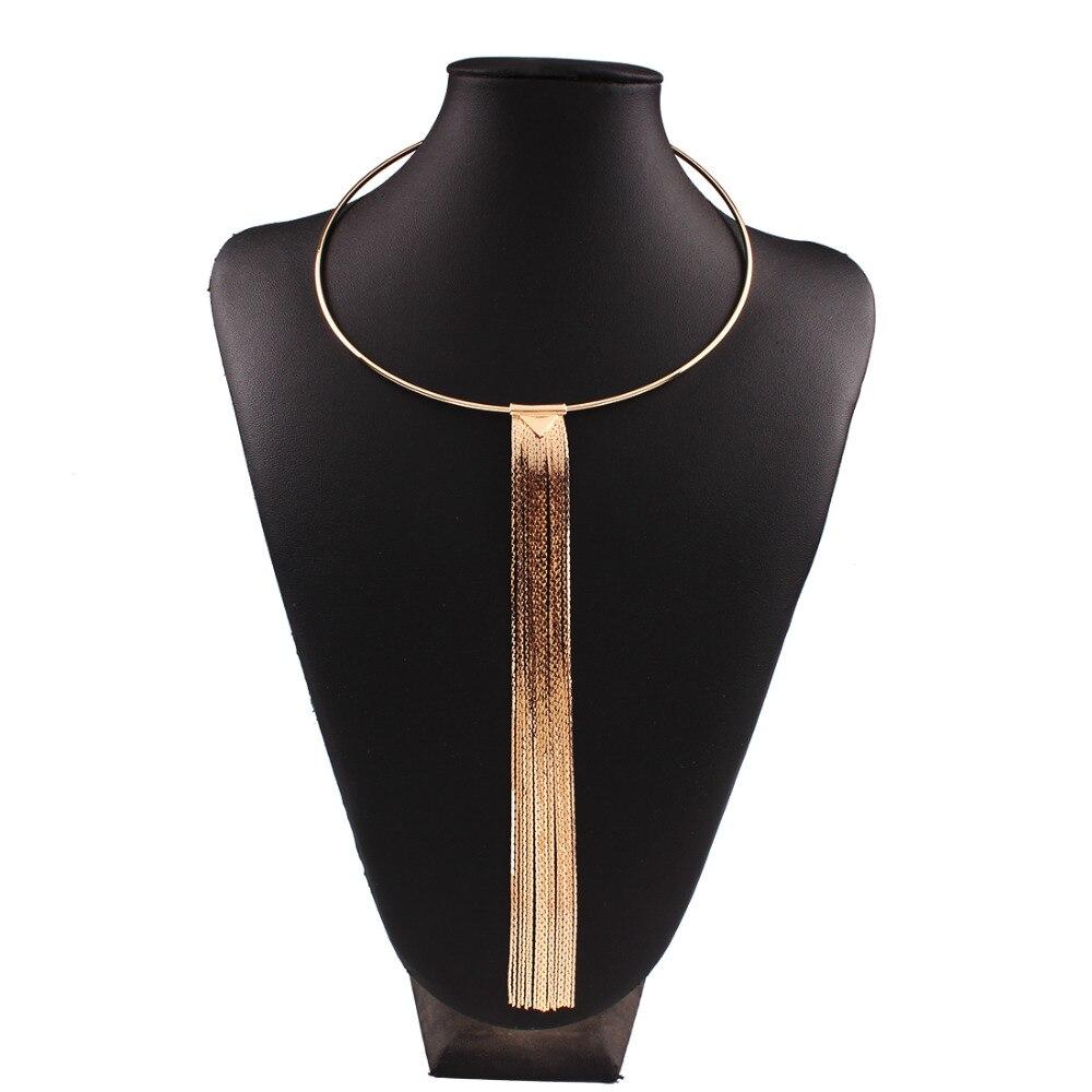 e2ca31054 Moda Choker naszyjnik długi naszyjnik z frędzlem dla kobiet 2016 złoty kolor  długi łańcuch komunikat wisiorek naszyjniki Maxi biżuteria N3813