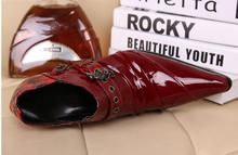 Gentleman Luxury red patent leather buckle men's Pointed oxford shoes