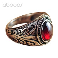 Vintage 925 Sterling Silver Vine Leaf Ring Jewelry with Oval Red Garnet Stone for Men Women Size 7.5 8 9 10 11 Free Shipping