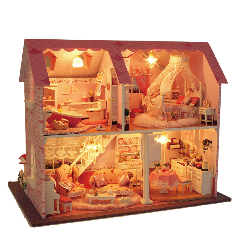 Doll house furniture miniatura diy doll houses miniature dollhouse wooden handmade toys for children birthday gift  A003 new arrive diy doll house model building kits 3d handmade wooden miniature dollhouse toy christmas birthday greative gift