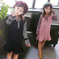 Kids Knitted Sweater Dress Girls School Spring Autumn Clothing Striped Girls Dress Bow And Ruffle Hem