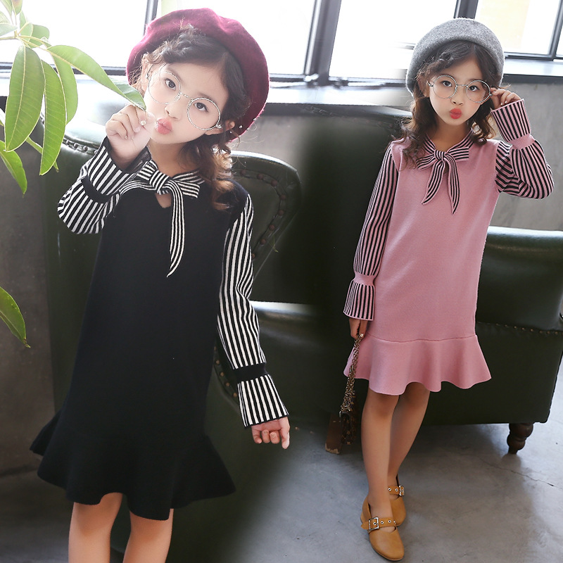 Kids Knitted Sweater Dress Girls School Spring Autumn Clothing Striped Girls Dress Bow and Ruffle Hem Princess Girls Dresses 2 pieces new women sweater dress 2018 fall spring autumn long sexy bodycon dresses elastic striped slim turtleneck knitted dress